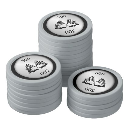 Race Cars Silver Set Of Poker Chips