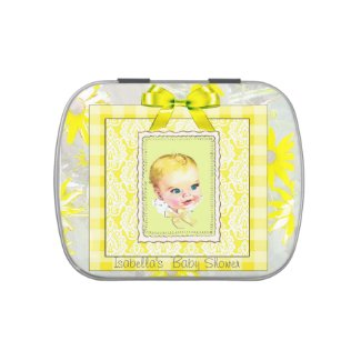 Yellow and Gray Vintage Baby Shower Candy Tin