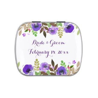 Watercolor Poppies Purple Green Wedding Candy Tins