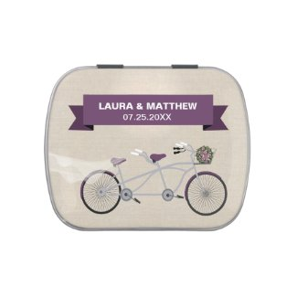 Tandem Purple Bicycle Wedding Engagement Jelly Belly Tins