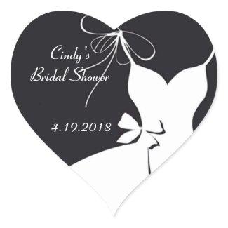 Bridal Shower Invite Seals Heart Sticker