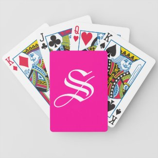 Hot Pink Initial Playing Cards