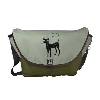 Sleek Black Cat Messenger Bag