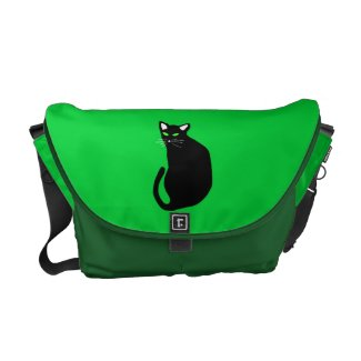 Black Cat With Bright Green Eyes White Ears Courier Bag