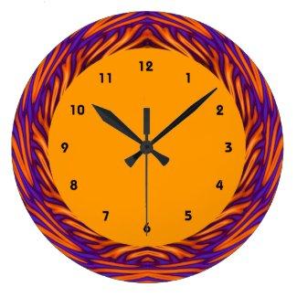Curvy Orange Circle Large Clock