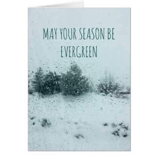 Abstract Evergreen Photo Holiday Greeting Card