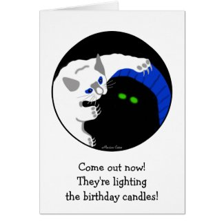 Kittens White And Black Playing Birthday Card