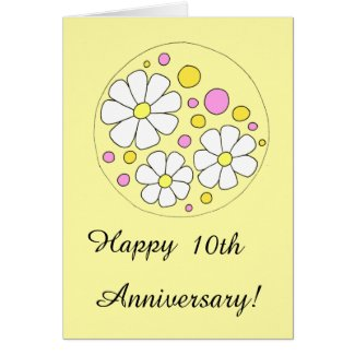 Retro Daisy Flowers Happy 10th Anniversary Card