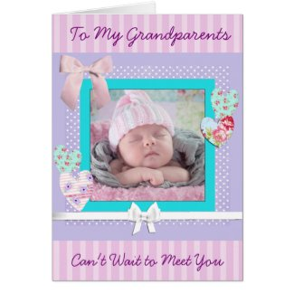 Baby Girl Birth Announcement card for Grandparents