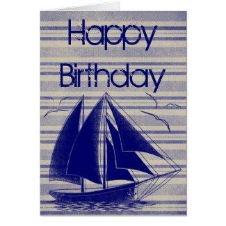 Nautical sailboat Happy Birthday Card
