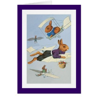 High-Flying Easter Bunnies -Vintage Easter Rabbit Card