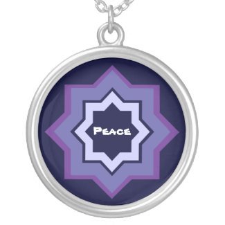 Peace Star Pattern Round Pendant Necklace