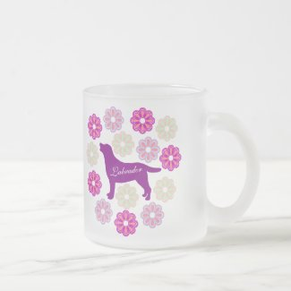 Labrador Outline and Purple Flowers Frosted Glass Coffee Mug