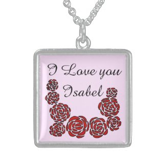 I love you Personalized Floral Border of Red Roses Square Pendant Necklace