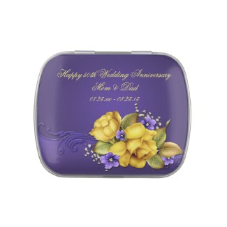 Yellow Roses Purple Violets 50th Wedding Anniversa Candy Tins