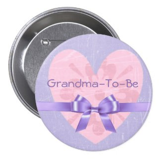 Grandma to Be Purple and Pink Button Pin