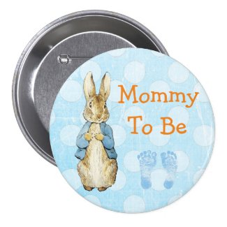 """Mommy to Be"" Baby Shower Button Vintage Rabbit"