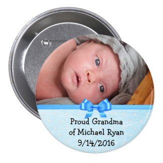 Proud Grandma of Grandson add name & Photo Button