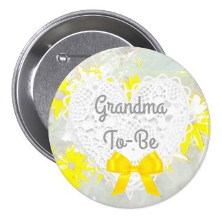 Yellow Lacy Grandma-To-Be Baby Shower Button