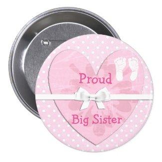 Proud Big Sister White & Pink Polka Dot Button