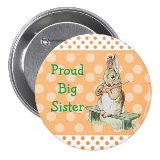 Proud Big Sister Vintage Rabbit Button