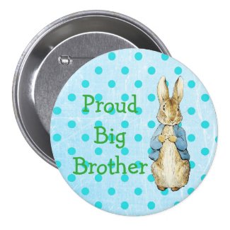 Proud Big Brother Button for Vintage Baby Shower