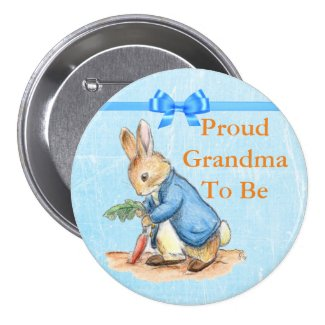 Proud Grandma-To-Be Vintage Rabbit Button