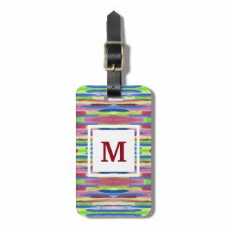 Monogram Watercolor Stripes Pattern Red Blue Green Tag For Luggage