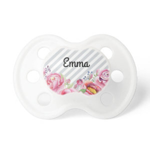 Pretty Pink Flowers and Stripes With Baby Name Pacifier