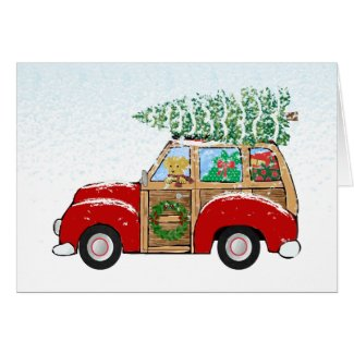Vintage Christmas Woody Wagon Bringing Home Tree Card