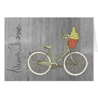 Sweet Gray Merry Christmas Bike Card