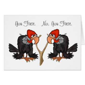 Turkey Vultures With Wishbone Thanksgiving Card