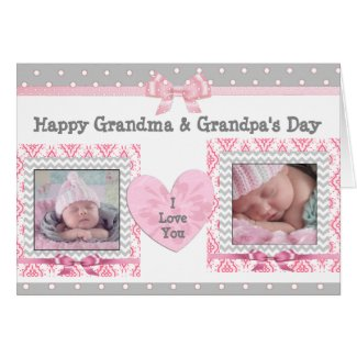 "Pink & Gray Grandparent's Day ""I Love You"" Card"
