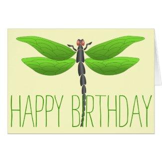 Happy Birthday Green dragonfly Card