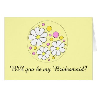 Retro Daisy Flowers Will you be my Bridesmaid? Card