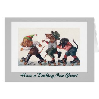 Three Skating Dachshunds New Year's Holiday Card