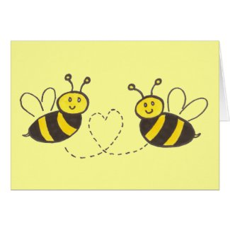 Honey Bees with Heart Happy Valentine's Day! Card