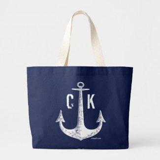 Blue anchor vintage nautical monogram large tote bag