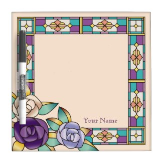 Stained Glass Hand-Drawn Roses Purple Peach Teal Dry-Erase Board