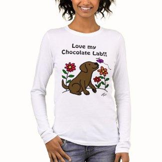 Chocolate Labrador & Green Long Sleeve T-Shirt
