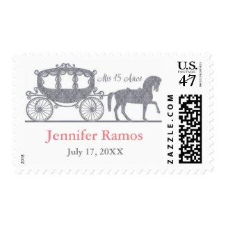 Fairytale Quinceañera Princes Carriage Stamps