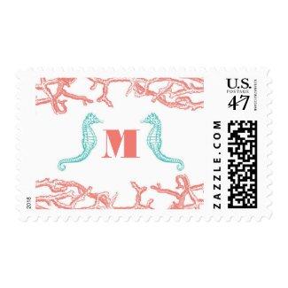 Coral Reef & Seahorses Wedding Postage Stamps