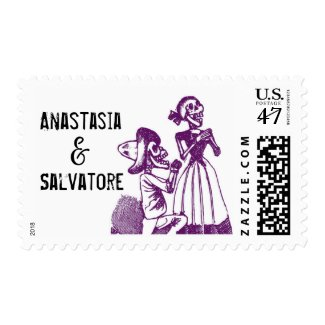 Day of the Dead Skeleton Couple Postage Stamp