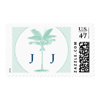 Aqua Navy Palm Tree Beach Wedding Postage Stamps