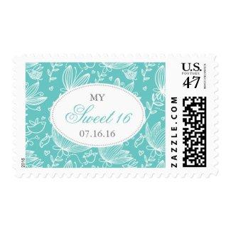 Aqua Birds & Floral My Sweet 16 Postage Stamps