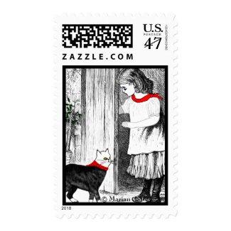 Vintage Girl Lets Her Cat In Stamp