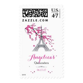 Pink Cherry Blossom Eiffel Tower Quinceañera Stamp