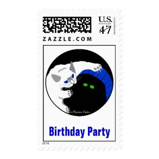 Kittens Black White Playing Birthday Party Postage Stamp