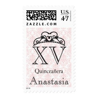 Pink Damask & Crown XV Quinceañera Postage Stamps