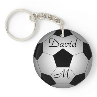 Soccer ball, personalized Double-Sided round acrylic keychain